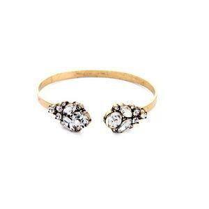 Clear Crystal Pave Floral Vintage Cuff Bracelet